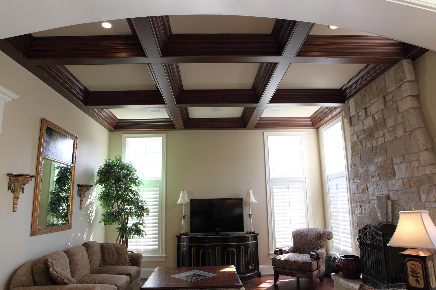 Coffered Ceiling - Battaglia built home in Hinsdale