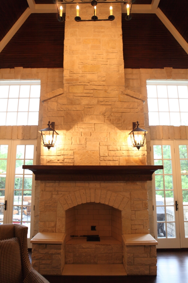Stone Fireplace with Multi-Level Hearth by Battaglia Homes - Hinsdale, IL