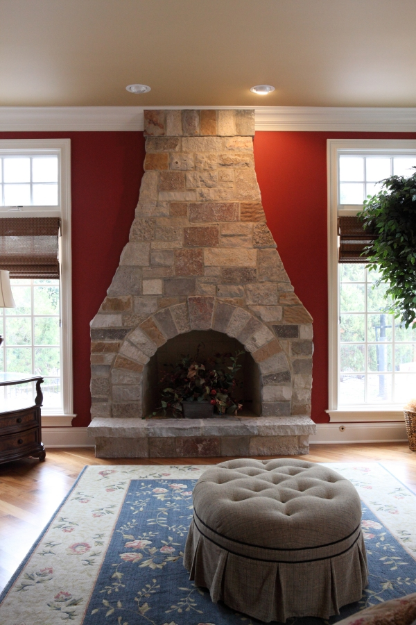 Stone Fireplace with Soldier Course by Battaglia Homes - Hinsdale, IL