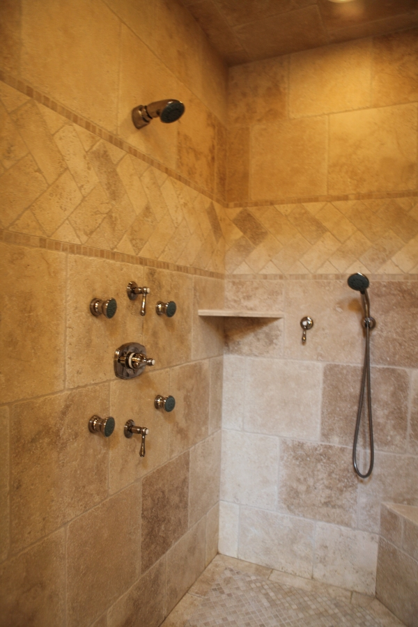 Polished nickel multi-fuction shower head, hand held & body sprays with lever handles   - by Battaglia Homes - Hinsdale, IL