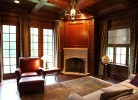 Study with Floor to Ceiling Cherry Trim Detail, Coffered Ceiling & Fireplace