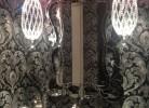 Plumbing Fixtures, Light Fixtures, Vanity, Countertop Sink & Wallpaper