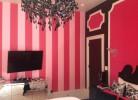 Striped Painted Walls, Light Fixtures & Custom Velvet Wall Panels