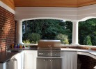 Pool House Kitchen Area - Custom Cedar Cabinets, Refrigerator, Grill, Granite Counter Tops & Sink