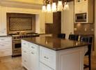 Kitchen Island - Caesar Stone Countertops, Travertine Flooring